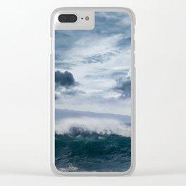 He inoa wehi no Hookipa  Pacific Ocean Stormy Sea Clear iPhone Case