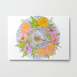 Spring Chickadee in Flowery Woodland Wreath Metal Print