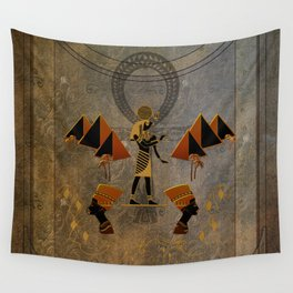 Anubis the egyptian god, pyramid Wall Tapestry