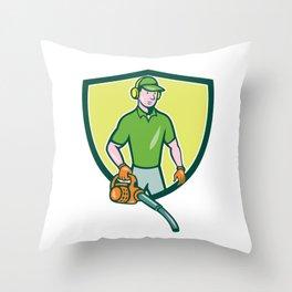 Gardener Landscaper Leaf Blower Crest Cartoon Throw Pillow