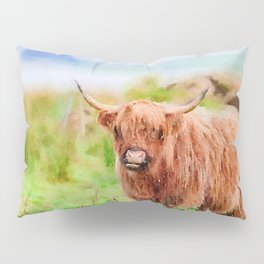 Long haired Highland cattle watercolor Pillow Sham