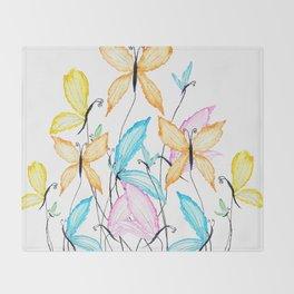 colorful flying butterflies Throw Blanket