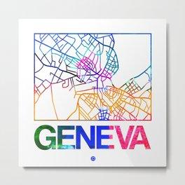 Geneva Watercolor Street Map Metal Print