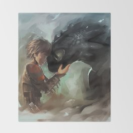 hiccup & toothless Throw Blanket