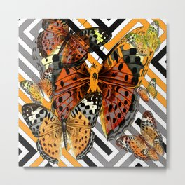 AWESOME  ORANGE-YELLOW BUTTERFLY GRAPHIC MODERN ART Metal Print