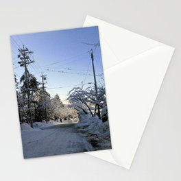 fresh snow over nagano forest road ii Stationery Cards