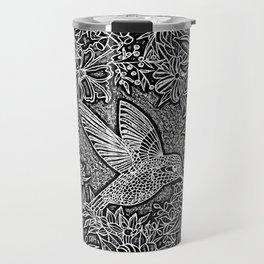 Hummingbird In Flowery Wreath Linocut Travel Mug