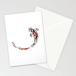Black and Red Koi Fish Stationery Cards
