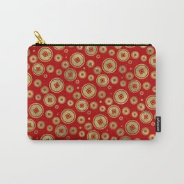 Chinese Coin Pattern Gold on Red Carry-All Pouch