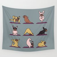 yoga Wall Tapestries featuring Frenchie Yoga by Huebucket