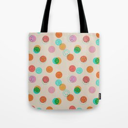 Smiley Face Stamp Print Tote Bag