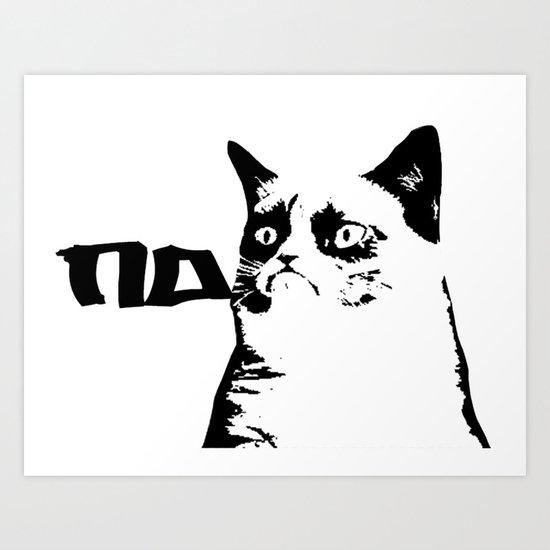 Grumpy Cat Stencil Banksy Style Graph Art Print By