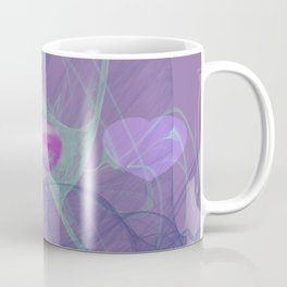 Heart Art- Abstract Art- Now or Later- Pink Heart- Purple Heart-Green-Pattern Art- Sacred Geometry Coffee Mug