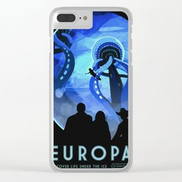 Europa Space Travel Retro Art Clear iPhone Case