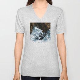 Elegant Sea Foam Splashing Against Coastal Rocks Unisex V-Neck