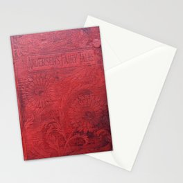 Antique Book Cover * Book Lovers * Literacy Art * Anderson's Fairy Tales * Red * Black Stationery Cards