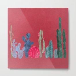 Cactus garden on coral pink Metal Print