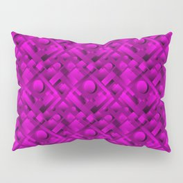 Volumetric design with interlaced circles and violet rectangles of stripes. Pillow Sham