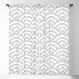 Light Grey Japanese Waves Pattern Blackout Curtain