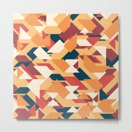 Abstract geometric background. Retro overlapping triangles and rhombuses. Metal Print