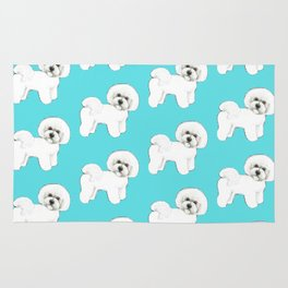 Bichon Frise on aqua / teal / cute dogs/ dog lovers gift Rug