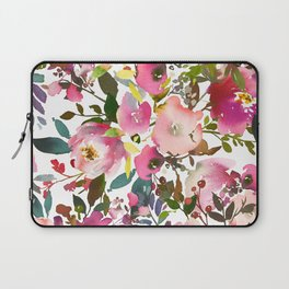 Pink coral forest green watercolor floral Laptop Sleeve