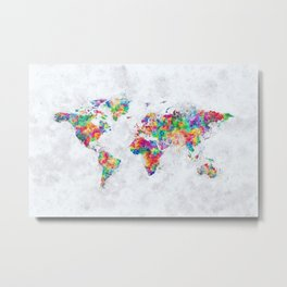 Colorful World Map Metal Print
