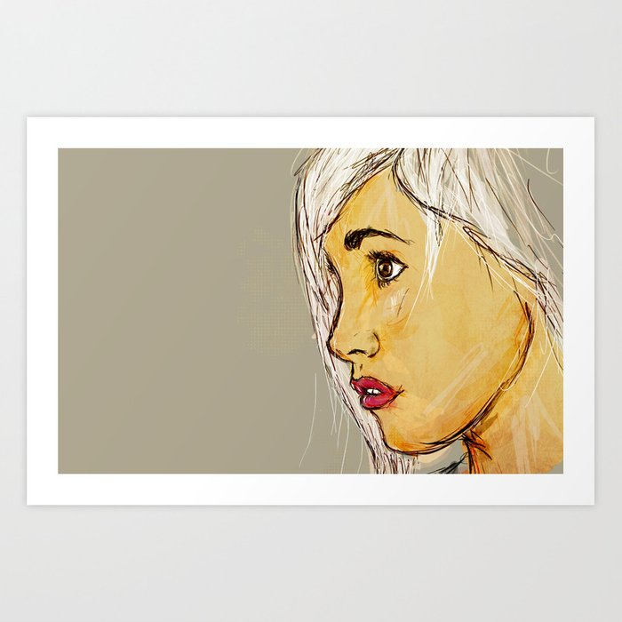 Looking sideways Art Print
