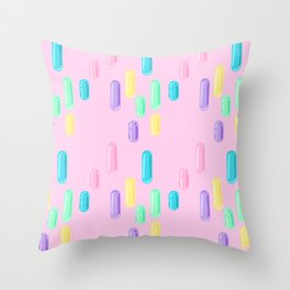 Pastel Candy Pill Pattern on Pink Throw Pillow