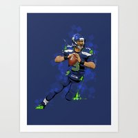 seahawks Art Prints featuring Russell Wilson QB 3 Seattle Seahawks by Akyanyme