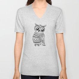 Black & White Owl Unisex V-Neck