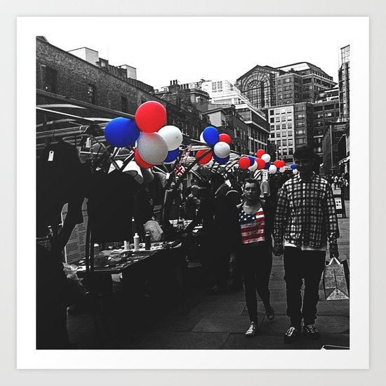 Red, Blue and White Art Print