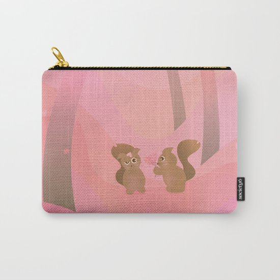 Be My Valentine (Cartoon Squirrels, Coral Pink Spring Forest) Carry-All Pouch