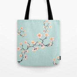 Sakura Cherry Blossoms x Mint Green Tote Bag
