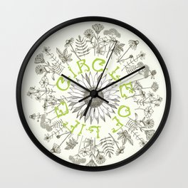 Circle Of Life Mandala With Hand Drawn Flowers Wall Clock