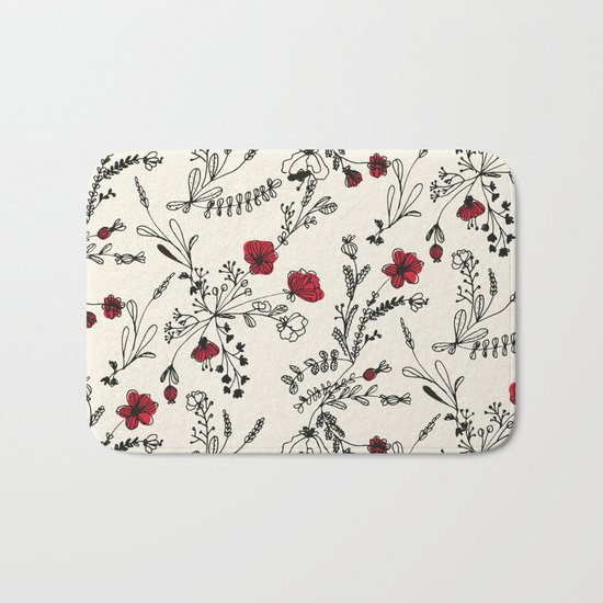Red Flower Pattern Bath Mat