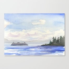 Seattle Ferry Watercolor Canvas Print