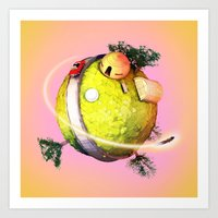 dragonball Art Prints featuring Planet Kai DragonBall Z by Neil Stratford