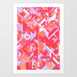 GEOMETRY SHAPES PATTERN PRINT (WARM RED LAVENDER COLOR SCHEME) Art Print