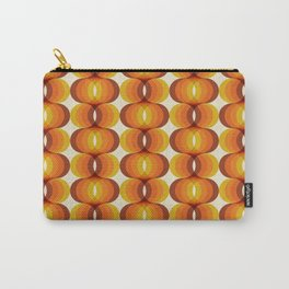 Orange, Brown, and Ivory Retro 1960s Wavy Pattern Carry-All Pouch