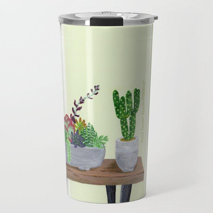 Cacti and Succulents on Greens Travel Mug