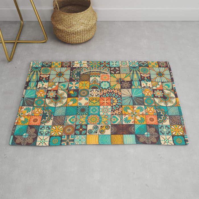 Boho Patchwork Quilt Pattern 6 Rug By