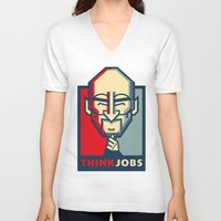 steve jobs V-neck T-shirts featuring STEVE JOBS VECTOR CARICATURE by Kaexi