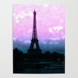 Paris Eiffel Tower : Lavender Teal Poster