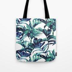 Leaves Paint in Blue Tote Bag