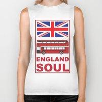 england Biker Tanks featuring England Soul by Tony Vazquez
