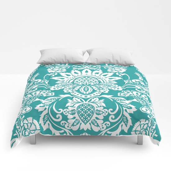 Damask in emerald Comforters