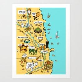 Chicago Food Map Art Print