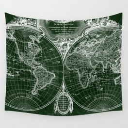 World Map (1775) Green & White Wall Tapestry