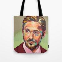 ryan gosling Tote Bags featuring Hey, girl. It's Ryan Gosling by Cori Redford